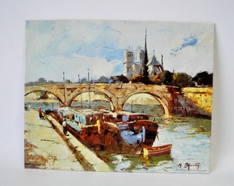 vintage 1960s Winde Fine Prints / Canal Scene / vintage home / cottage style decor / litho /USA