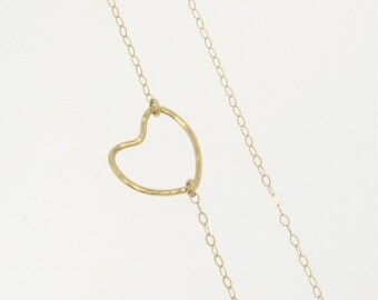 Heart Necklace - Hammered Heart Outline, 14K Gold Open Heart Necklace