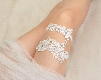 bridal garter, wedding garter set, bride garter set,toss garter , something blue garter, beaded floral garter,garters for wedding