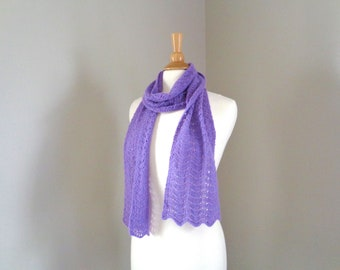 Violet Purple Cashmere Scarf, Mother's Day Gift, Super Light, Hand Knit, Long Lacy Wrap Scarf, Ladies Women, Fine Knit