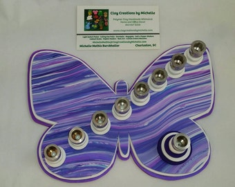Butterfly - Silhouette Menorah - Purple, Fuchsia, and White
