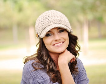 Hand Crocheted Newsboy Hat / Women's Hat / Crochet Hat / Brimmed Beanie Hat / Fall Fashion / Gifts for Her / Women's Winter Hat