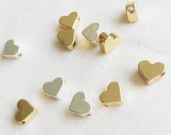 7mm Mini heart Charm,  Golden heart charm,  silver heart charm, Can Add to necklace or Bracelet,  Charm, Bead