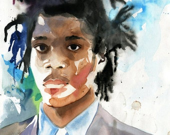Basquiat Art  Print of a Painting Black Man Figurative Watercolor Artist Portrait Digital File Giclee Large Huge Custom