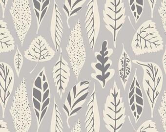 Hello Bear, Leaflet Dawn, Woodland Fabric, Art Gallery Fabrics, Grey Fabric ,Woodland Nursery,  HBR-5435