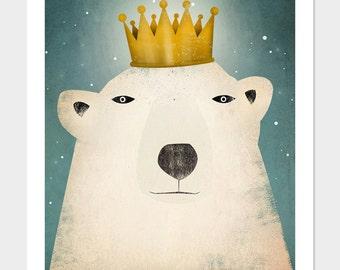 Polar Bear King GRAPHIC ART Illustration giclee print SIGNED
