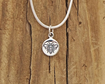 Sterling Silver Tiny Bee Etched Charm Pendant Necklace Worker Bee Bumblebee Honeybee