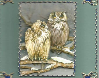 Animals, 3d card, handmade, category birds - birthday, thank you, get well, retirement, birds, owls, OWL.