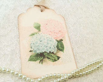 Floral Gift Tags-Garden Hydrangea Flower Shabby Chic Tags-Set of 6