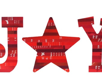 JOY tabletop letters made with recycled magazines- white, red, Christmas, unique, star, modern letter, interior design, holiday decoration