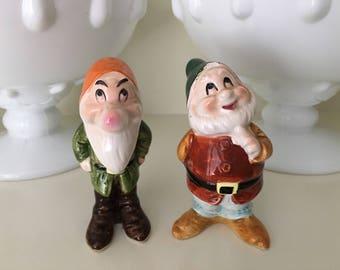 RARE Vintage Disney Porcelain Snow White Happy and Grumpy Dwarf Figurines