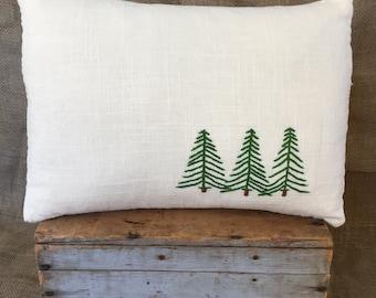 Wanderlust Pillow, Thru The Pines Pillow, Hand Embroidered, Tree Throw Pillow, Pine Tree Pillow, Adventure Décor