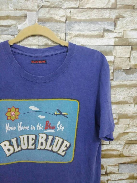 Vintage Blue Blue Japan Shirt Rare T-Shirt Blue Blue Japanese Designer Blue Sky McCoy Buzz Rickson Toyo USN Medium 9TpEN0