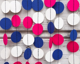 Royal blue and Hot Pink garland, Pink baby shower, Bridal shower, Pink party garland, Blue garland, Royal blue garland, White garland