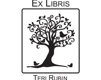 whimsical birds in tree Ex Libris custom Rubber Stamp Bookplate
