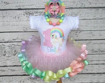 Unicorn Birthday Outfit - Pastel Rainbow Unicorn Tutu - Unicorn First Birthday Dress - Ribbon Tutu - Applique Shirt - Unicorn Theme