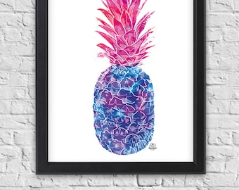 "Poster ""Blue Rose"" pineapple with ink, exotic fruit, poster, tropical pattern"