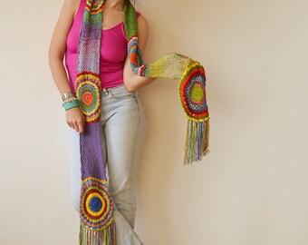 Multicolor Crocheted Circle Scarf, Light Silky Yarn - READY TO SHIP