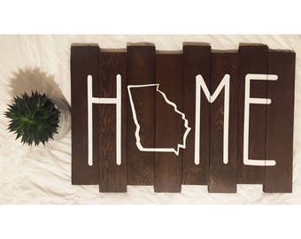 Home State Wood Sign | Georia State Wood Sign | Wood Sign Gift | Rustic Interior Home Decor | Atlanta Georgia is Home | Southern Decor