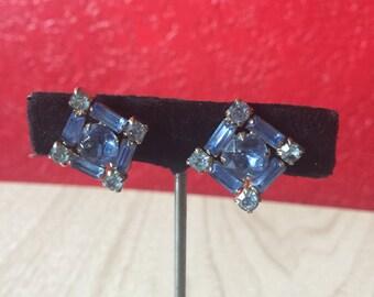 Unique Vintage Blue Rhinestone Screwback Earrings