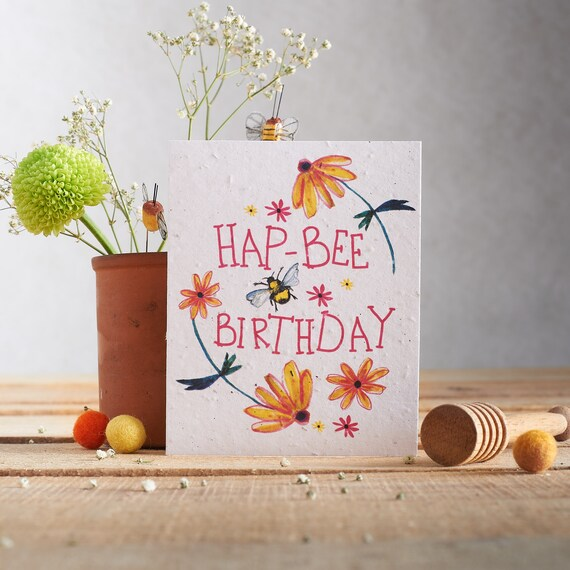 Plant the card & watch it grow - Plantable card for birthdays - wildflower seed card - bee design - a Bee birthday - Happy Birthday card