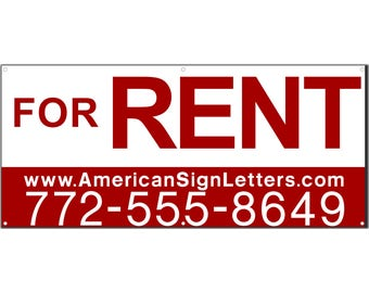 For Rent with Phone/Website Vinyl Banner Single Sided with Grommets