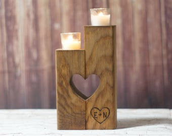 Reclaimed Wood Candle Holder, Rustic Candle Holder, Rustic Decor, Personalized Gift , Rustic Home Decor, 5th Anniversary, Wedding Gift