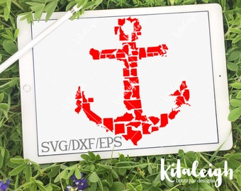Anchor States INSTANT DOWNLOAD in dxf, svg, eps for use with programs such as Silhouette Studio and Cricut Design Space