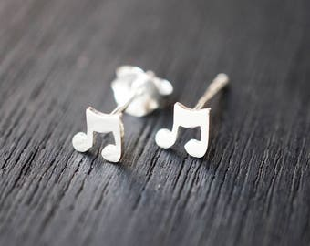 Music earrings stud, Eighth Note Earrings, Note Earrings, Eighth Note Earrings, 8th Note Studs, Music Jewelry, Music Note Earrings L-STSM028