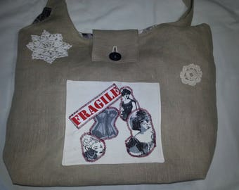 Large tote bag in beige linen