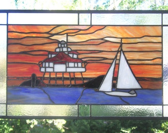 "Stained Glass Window Panel--Chesapeake Sunset--13.5"" x 23"""