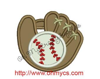 Baseball and Glove Applique Embroidery Design