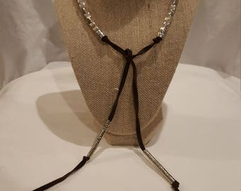Woman's and Girls Thick Brown Leather Silver Bead Necklace