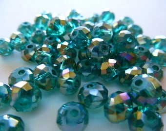 Crystal beads AB emerald green faceted 6 x 4 mm set of 10
