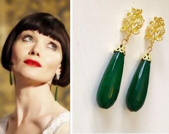 Miss Phryne Fisher Genuine Green Jade Gemstone Emerald Gold Cubic Zirconia Art Deco Scroll Floral Teardrop Earrings
