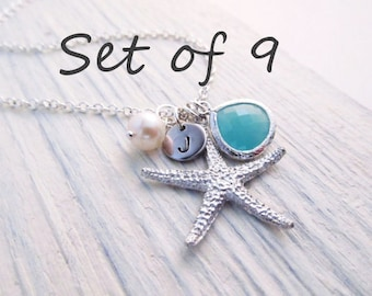 Beach Wedding Jewelry Set of 9 -- Starfish Necklace, Beach Necklace, Personalized Bridesmaid Gift,  Bridal Party Jewelry, Custom Color