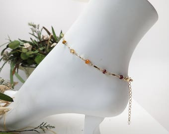 Chakra Anklet, Multi Gemstones In 14K Gild Filled, Meditation Jewelry, Spiritual Healing, Reiki Jewelry, Chakra Jewelry, 8.75-10.25 Inches