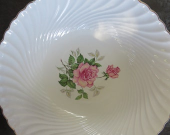 Vintage Salad Bowl / Dish Service Holder - Stamped KG Luneville - French Faience - Romantic Decor