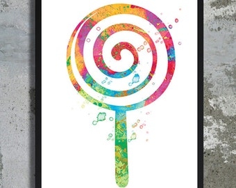 Lollipop Watercolor Art Print Dessert Painting Ice cream Sweet Candy Poster Summer decor Home decor Kitchen decor Food wall art Baby decor
