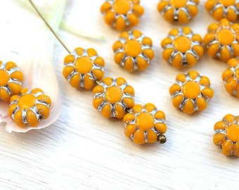 Yellow Flower beads, silver inlays, czech glass, flat daisy beads, yellow glass beads - 9mm - 20Pc - 2370