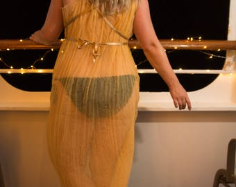 Gold sheer goddess dress, pure silk chiffon luxury beach cover up, Oshun, fairy, Game of Thrones yellow summer maxi dress