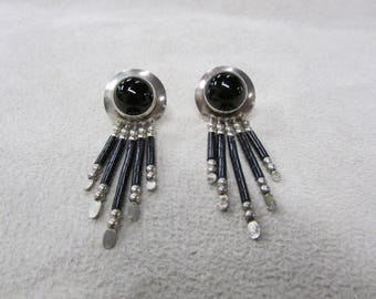 Sterling Silver Post Earrings with Jet Heshi Dangles