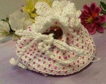 Fuschia Beaded White Treasure Bag