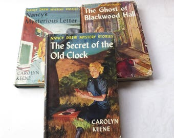 Nancy Drew Blue Cover Original Jacket Carolyn Keene Mystery Three Books Old Clock Mysterious Letter Blackwood Hall 1950s #1 #8 #32
