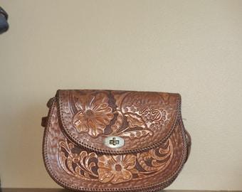 Dads Grads Sale Hand Tooled Brown Leather Bag Purse Shoulder Bag- VGC