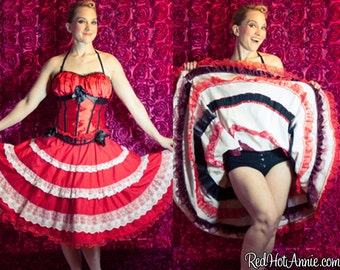 Custom CanCan French Dancing Skirt With Ruffles Circle Skirt Costume - Various Colors & Sizes