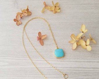 Genuine Turquoise 14K Gold Necklace