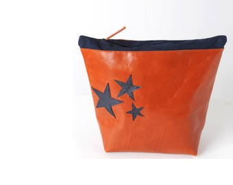 """Orange leather pouch, Zippered toiletry bag or pencils case, with navy blue stars, ca. 22cm x 22 cm (8.7x8.7""""), MALAM"""