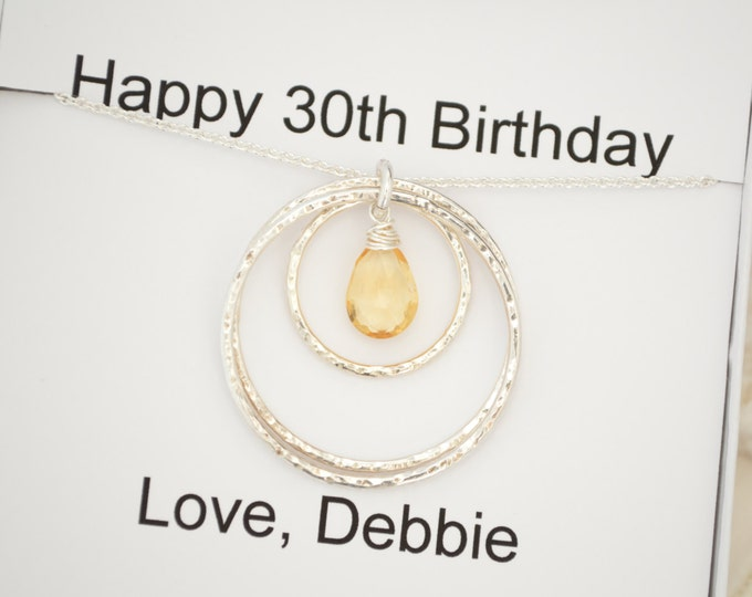 30th Birthday gift for her  Necklace, Citrine necklace jewelry, November birthstone jewelry, 3 Sisters necklace,3rd Anniversary gift for her