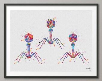 Bacteriophage Virus Watercolor Print Medical Art Biotech Wall Art Bioscience Microbiology Bacteria Art Biology Microscopy Science Decor-196